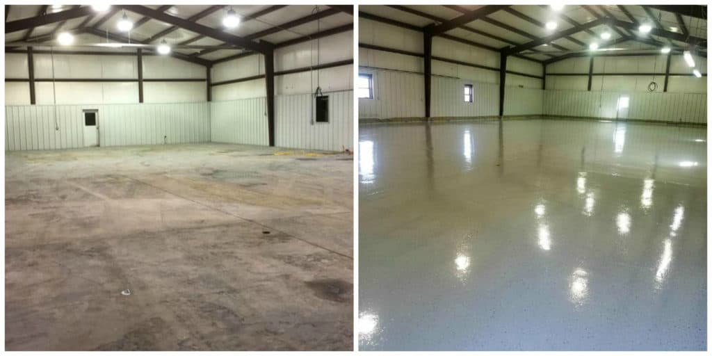 Picture of before and after look of a big commercial space after epoxy coating