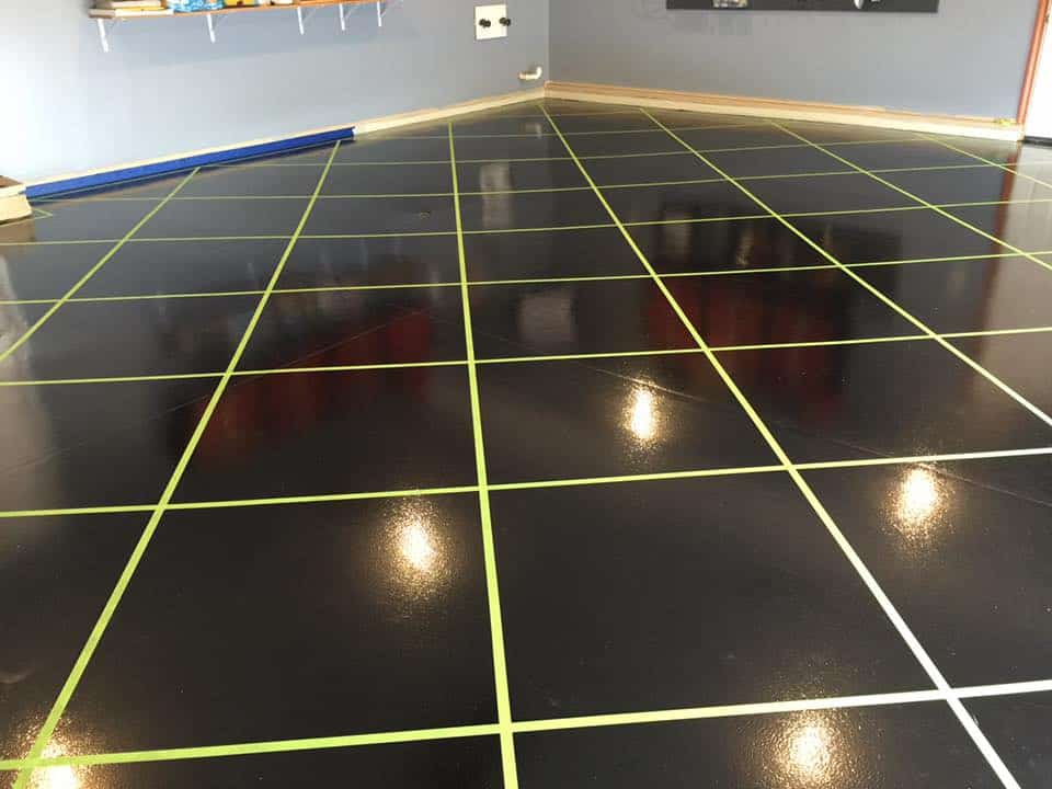 Beautiful square pattern black and yollow stripe epoxy coated floor of a retail shop