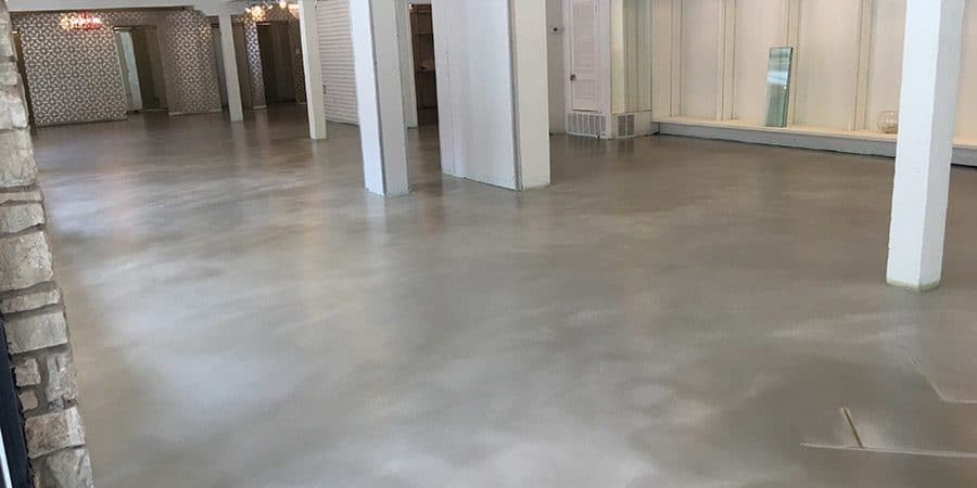 Panaroma design epoxy flooring installed on a commercial concrete floor