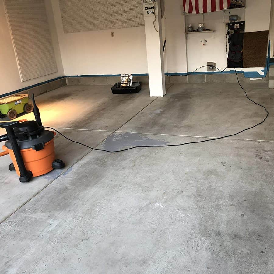 Preparing a garage floor to refinish epoxy coating