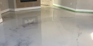 reflactive marble designed epoxy coating on a residential house floor, San Antonio